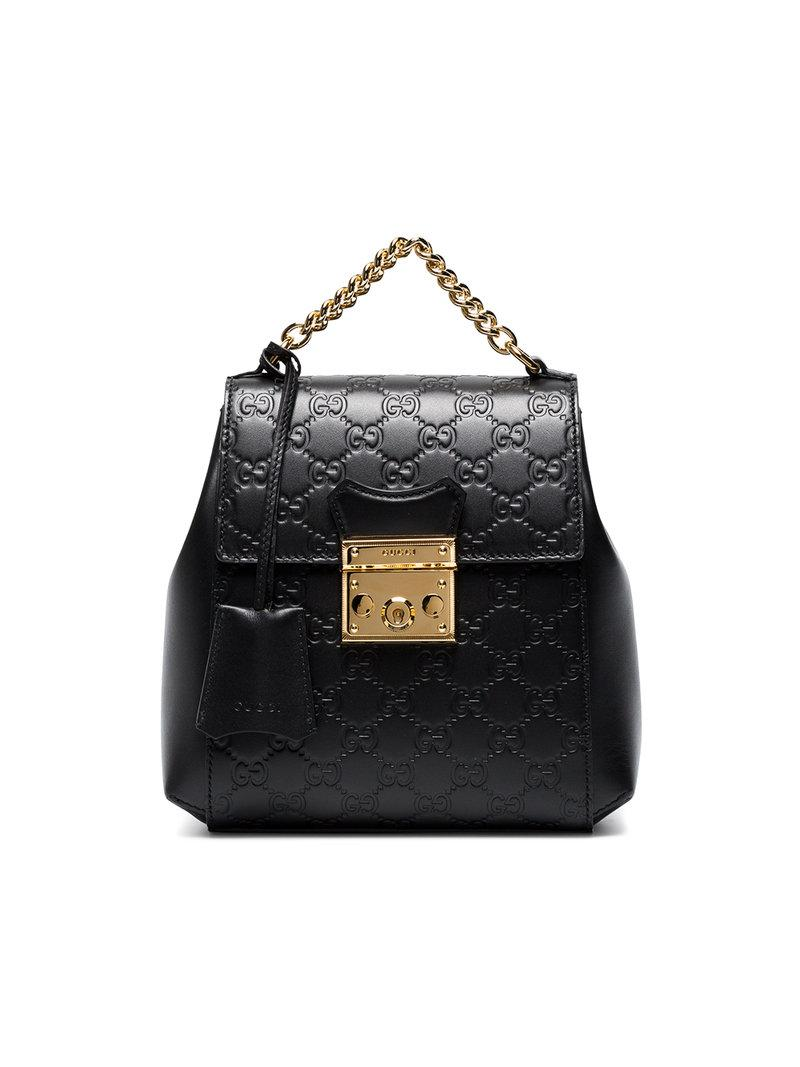 8119663954d Lyst - Gucci Black GG Padlock Leather Backpack in Black