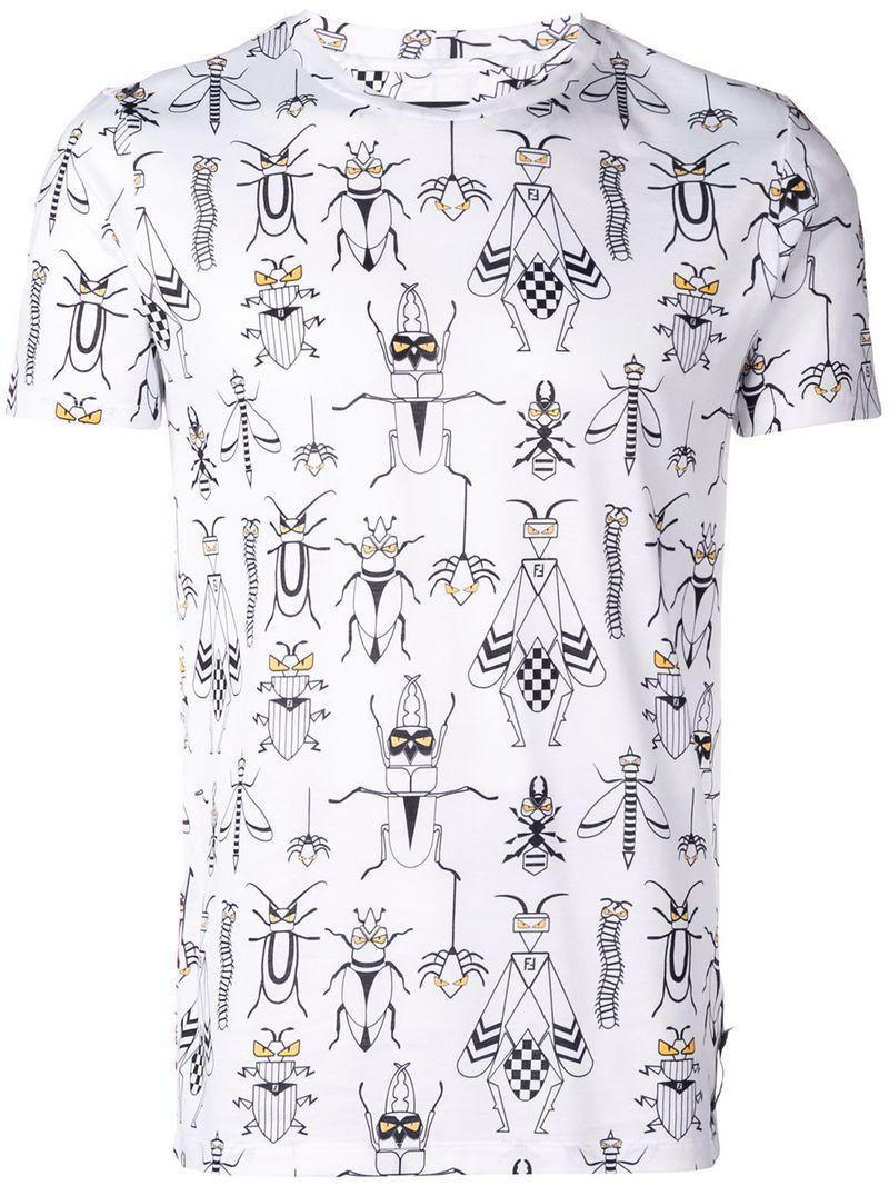 6c25e906a1f8 Lyst - Fendi Printed T-shirt in White for Men