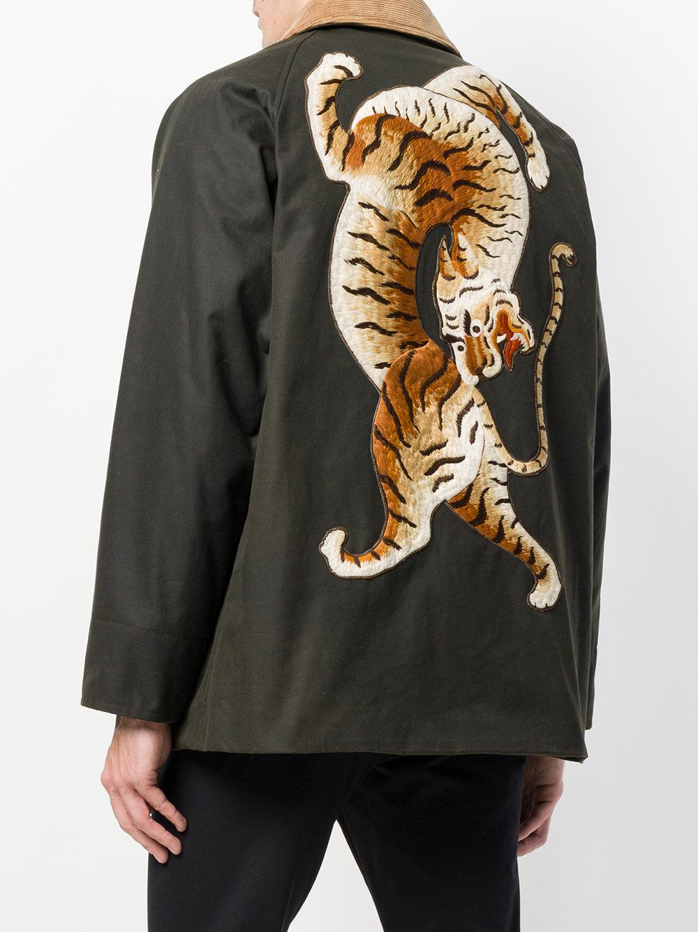 Gucci Cotton Tiger Embroidered Jacket In Green For Men