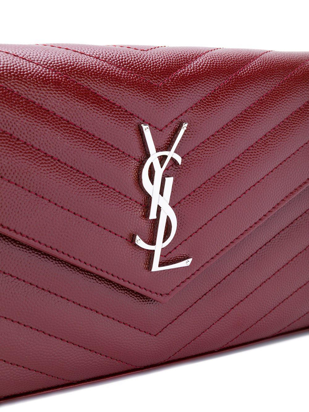 67cc6baa28 Lyst - Saint Laurent Monogram Leather Envelope Bag in Pink