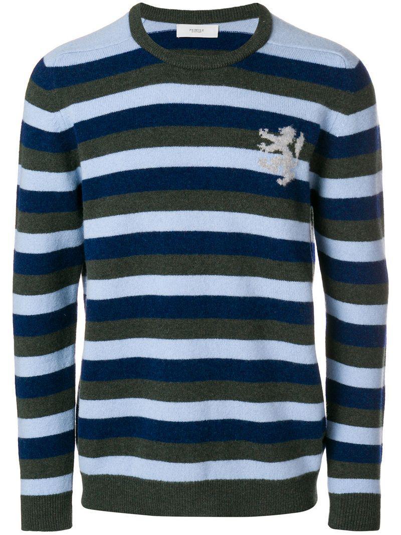 4a94b575 Pringle Of Scotland Multi-stripe Sweater in Blue for Men - Lyst