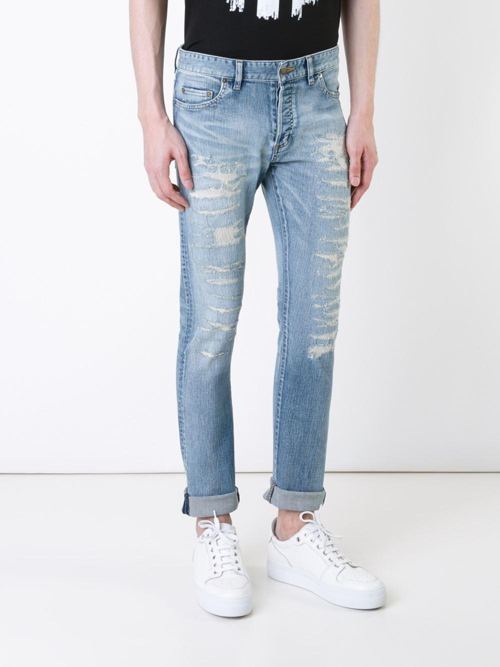 HL Heddie Lovu Denim Distressed Skinny Jeans in Blue for Men
