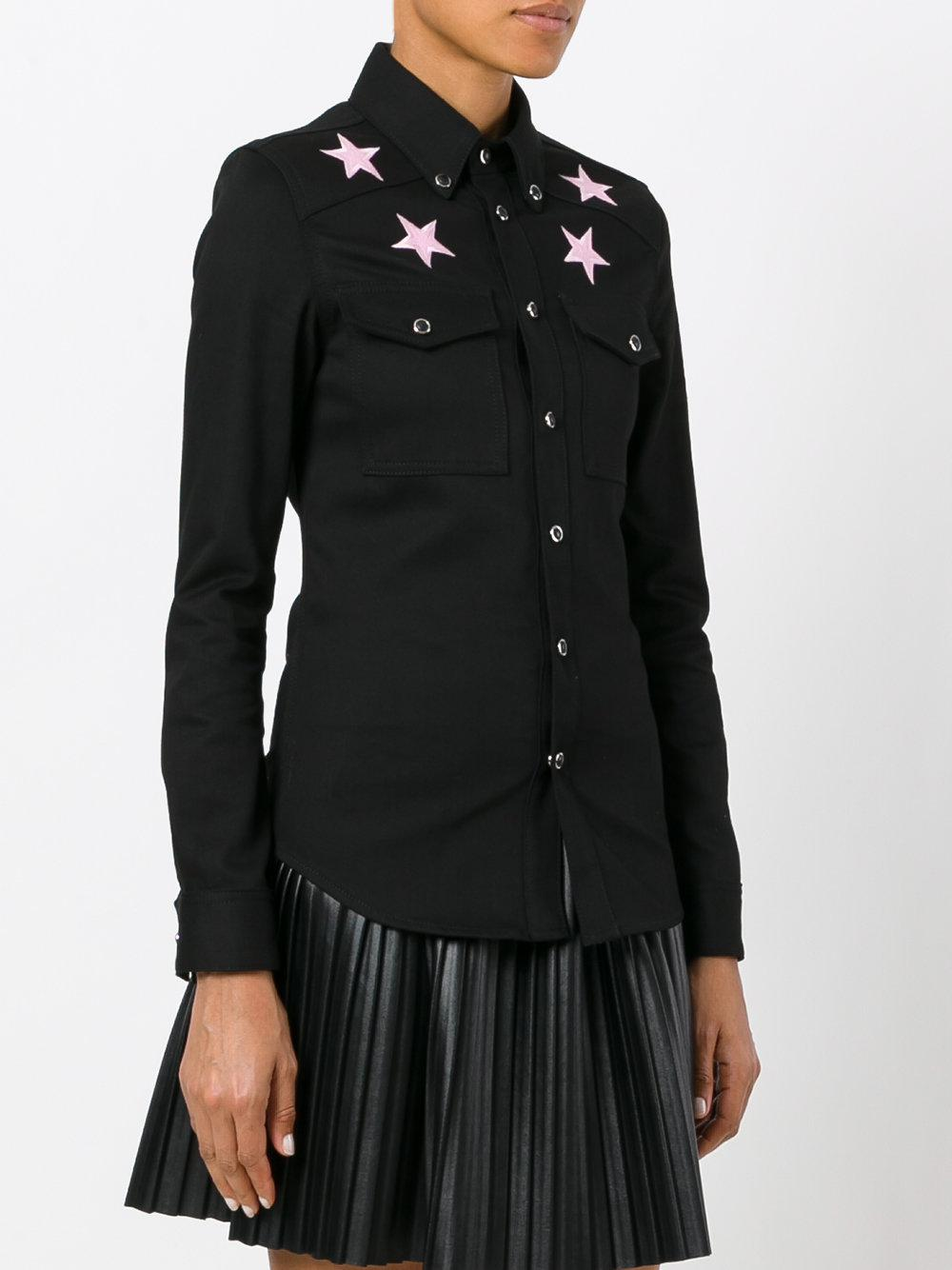 Lyst givenchy star embroidered shirt in black for Givenchy 5 star shirt