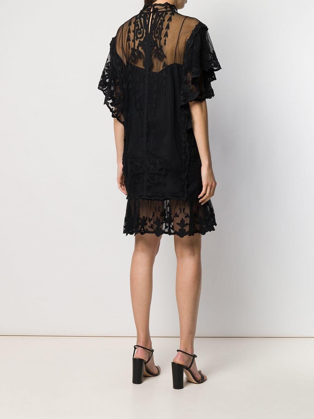 Dress Black Isabel Lace In Lyst Marant Satia ZOiuPkX