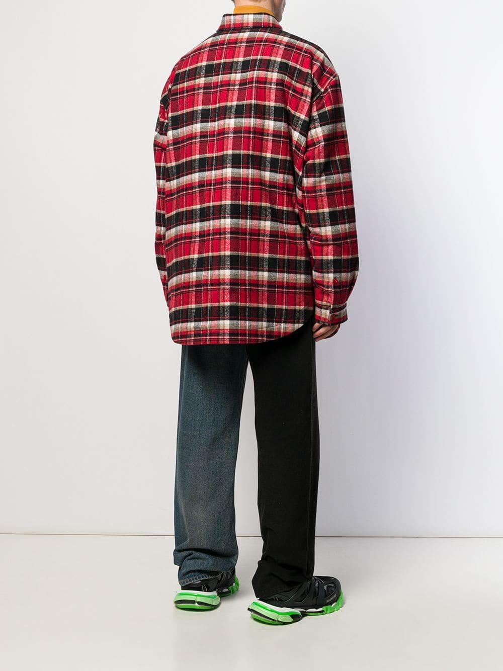 Balenciaga Katoen Geruit Overhemd in het Rood voor heren