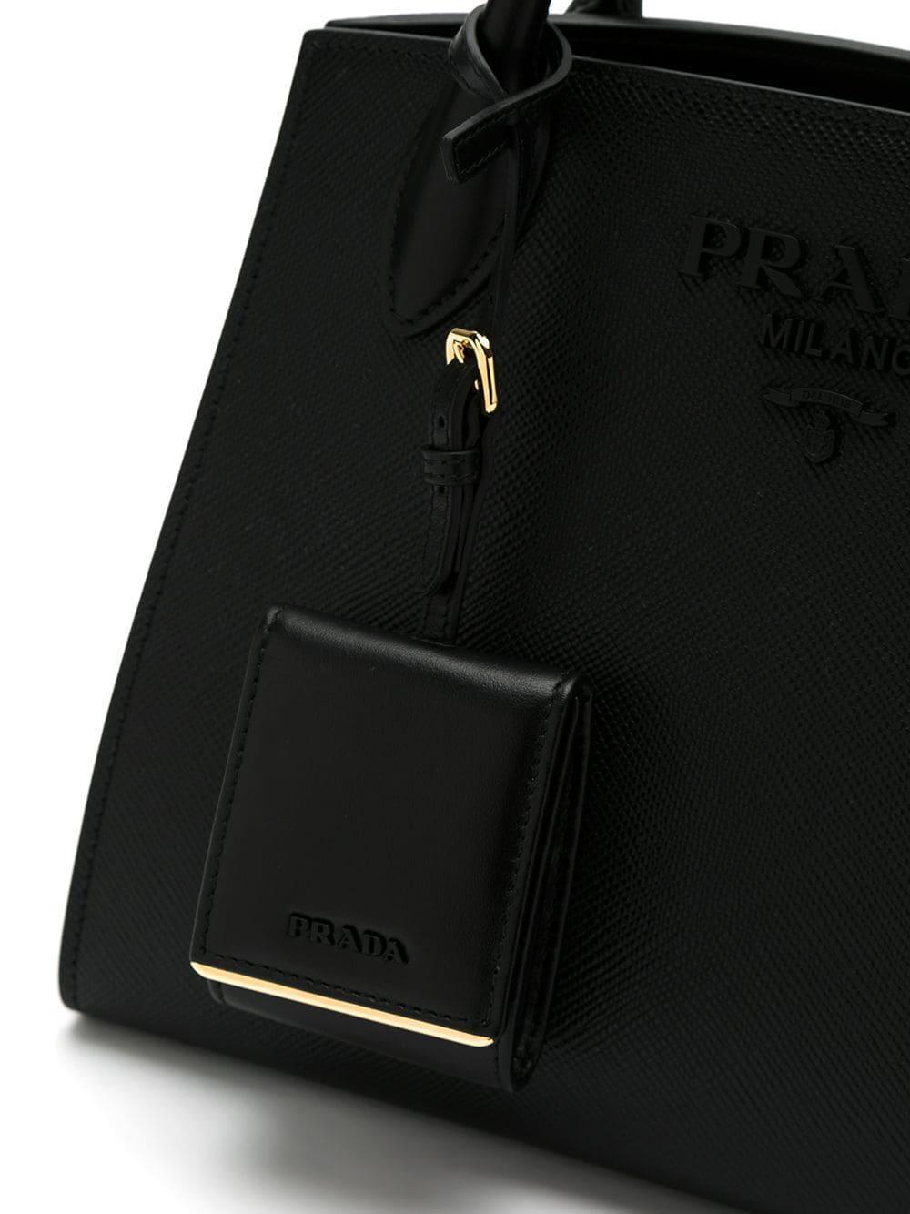 Sac à main Monochrome Cuir Prada en coloris Noir