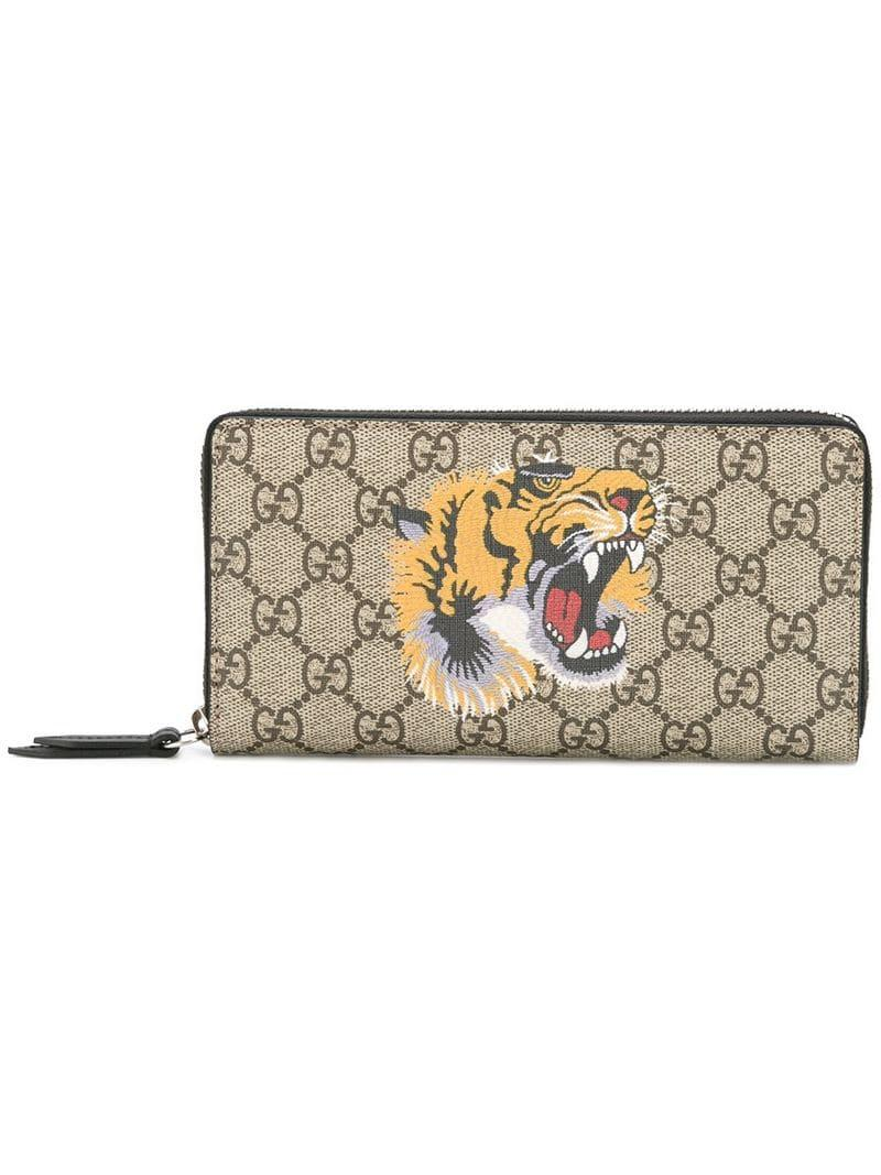 bae0b169d43 Gucci GG Supreme Tiger Print Wallet in Brown for Men - Lyst