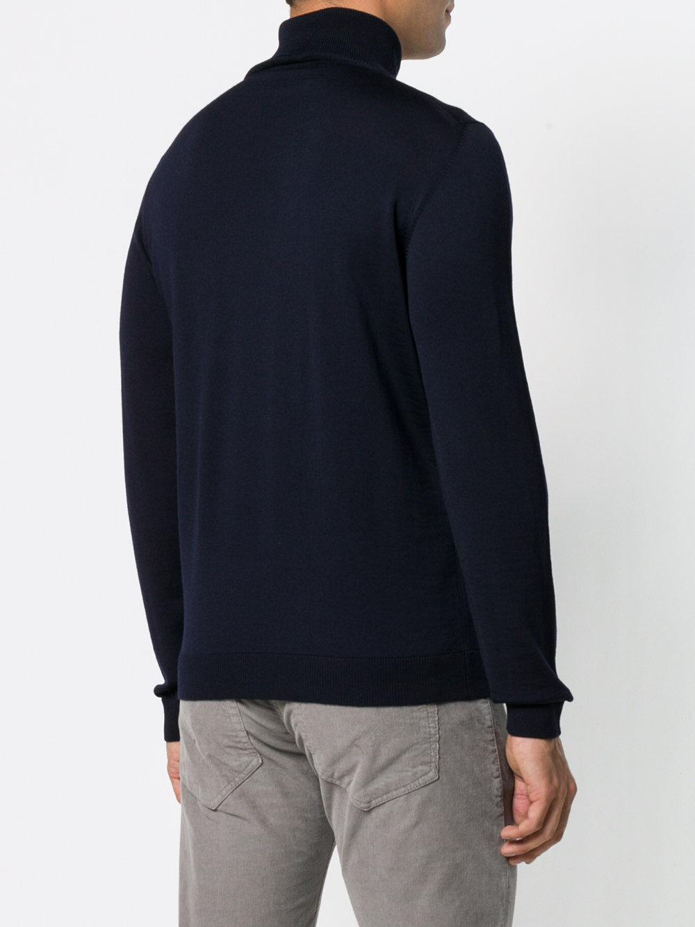 Roberto Collina Wool Roll-neck Fitted Sweater in Blue for Men