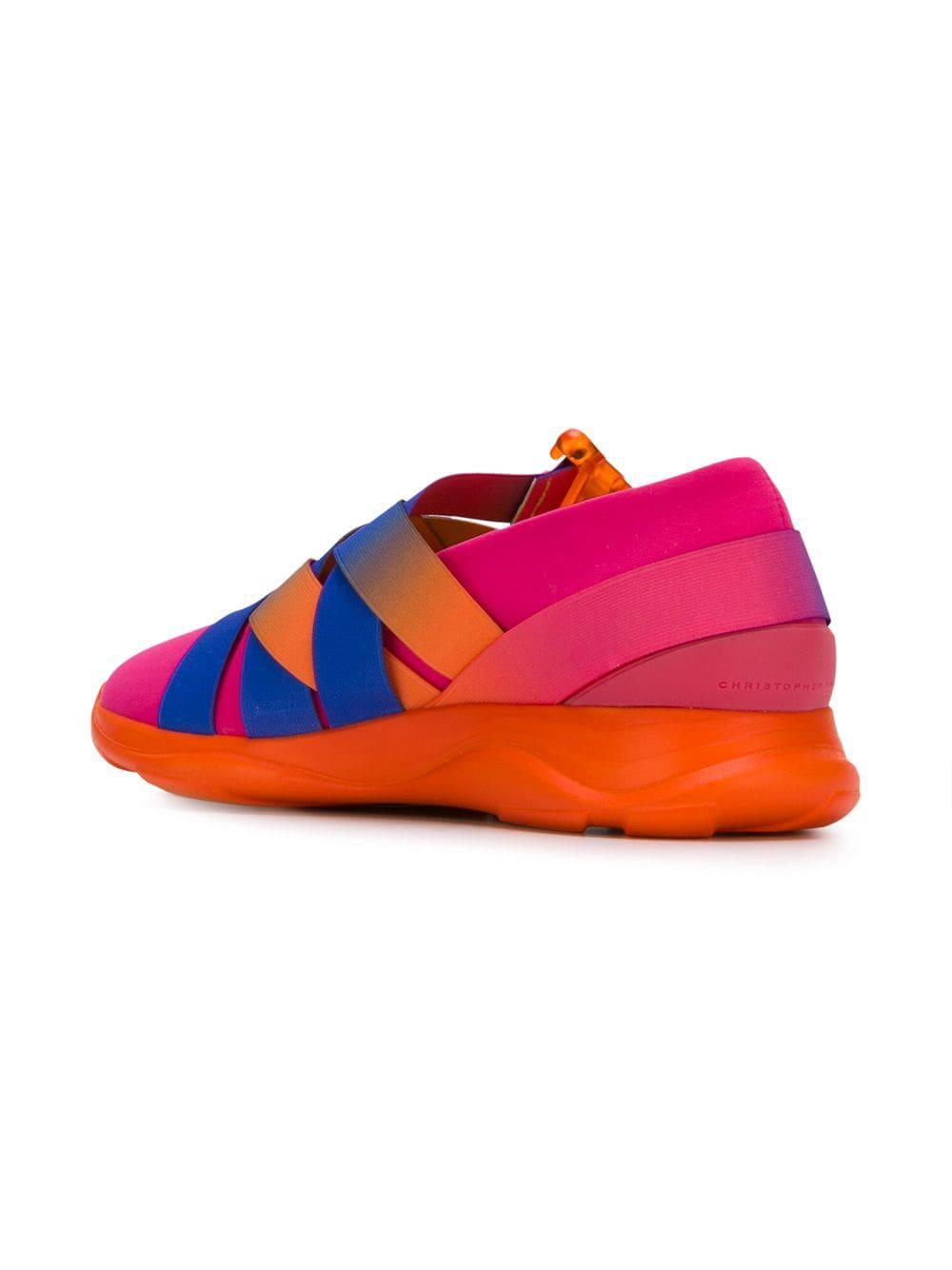 Christopher Kane Leather Cross Strap Sneakers in Pink (Blue)
