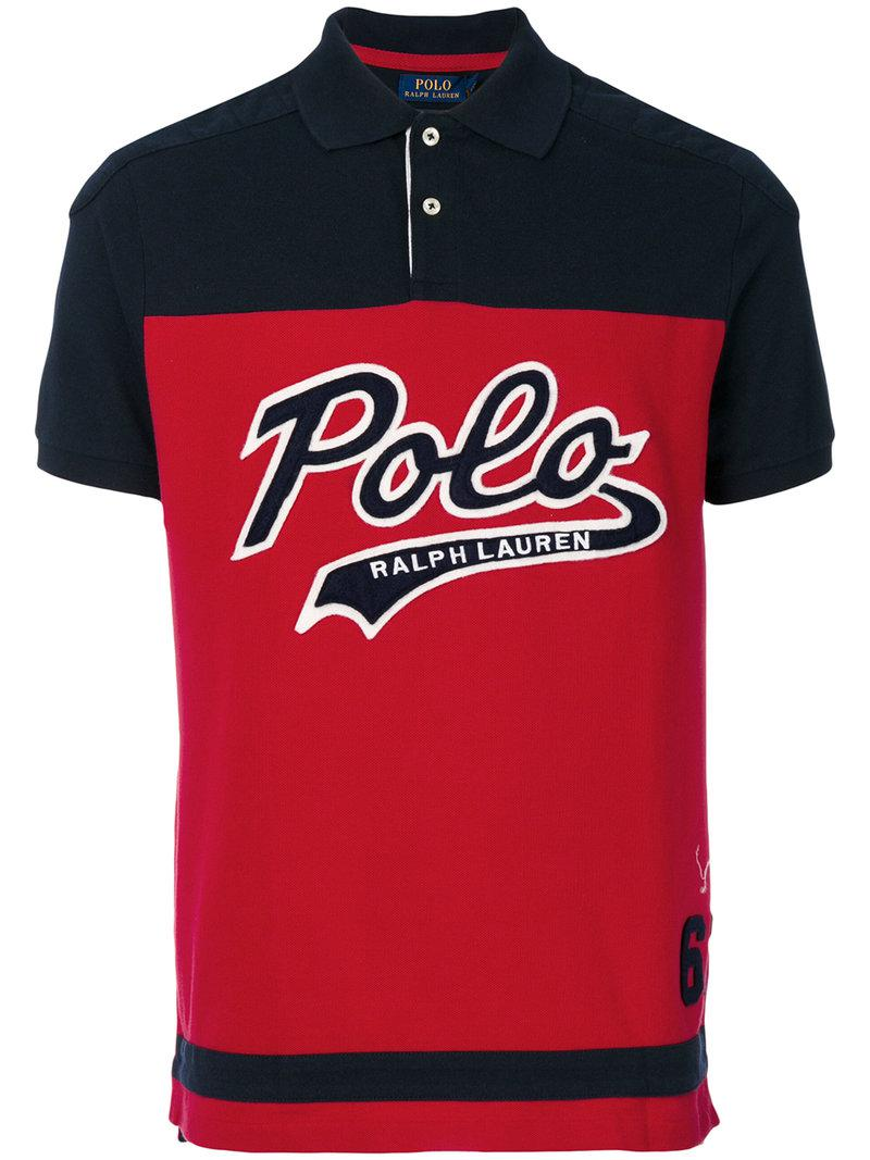 Lyst polo ralph lauren logo polo shirt in red for men for Polo shirts with logos