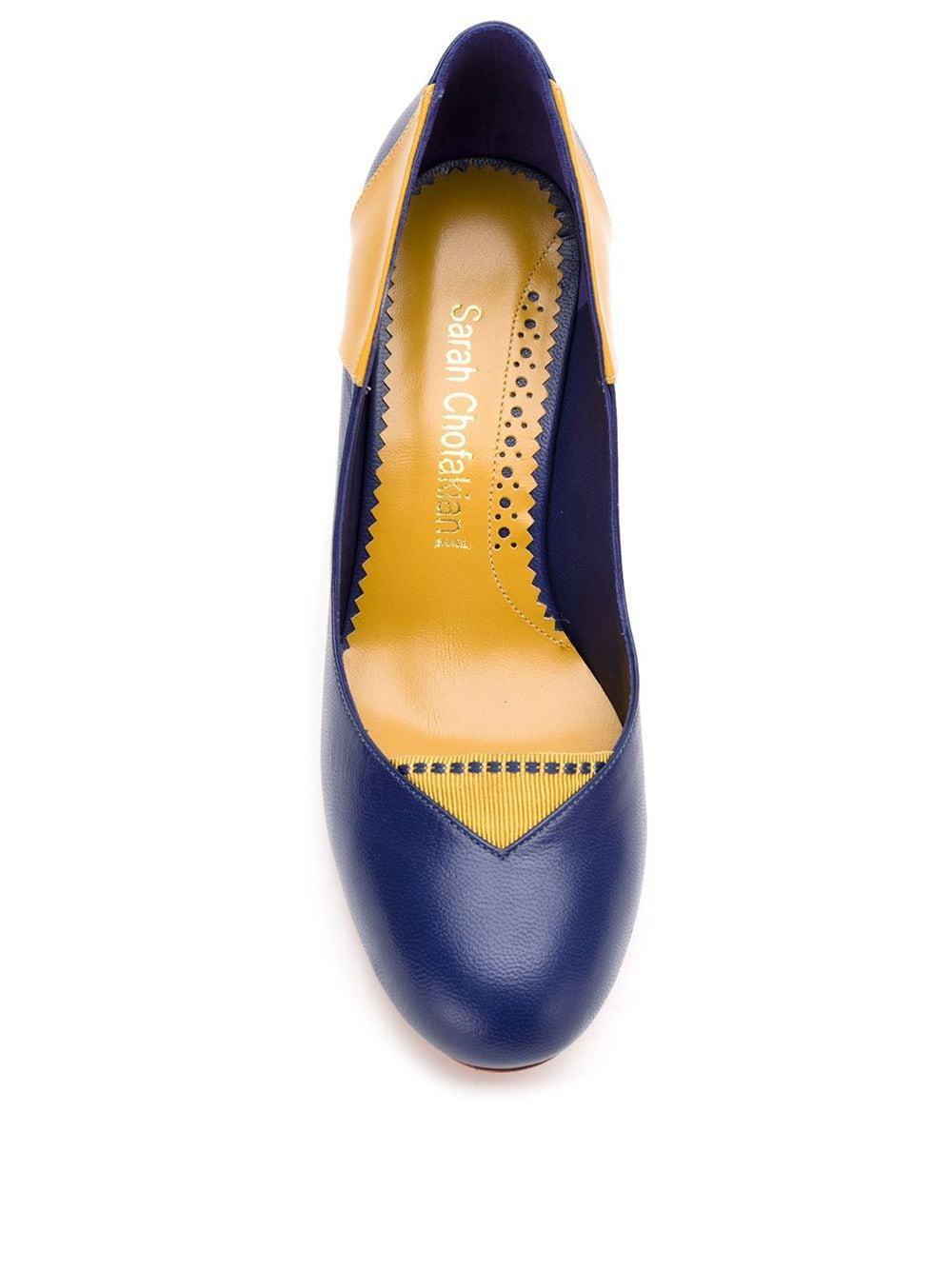Zapatos de tacón con diseño de paneles Sarah Chofakian de Cuero de color Azul