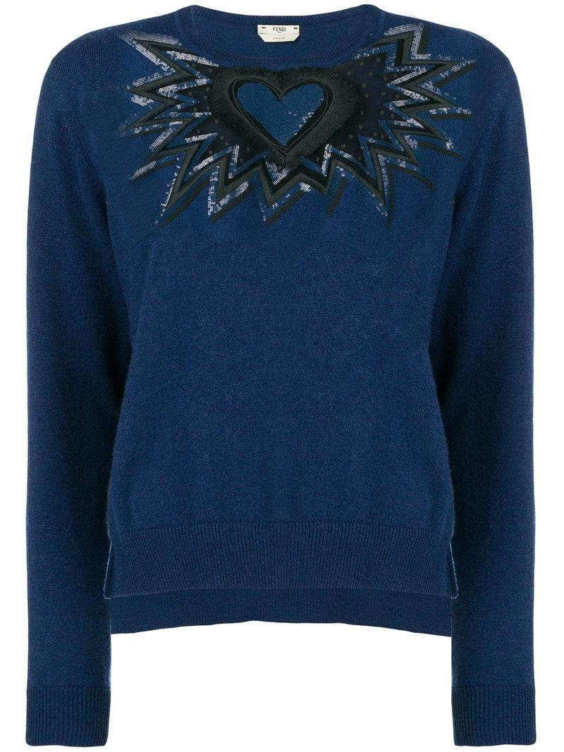 100% Authentic Sale Online With Paypal Online Fendi cut out embroidered heart sweater Outlet Footlocker Clearance How Much Outlet Classic eXfCCmny7U