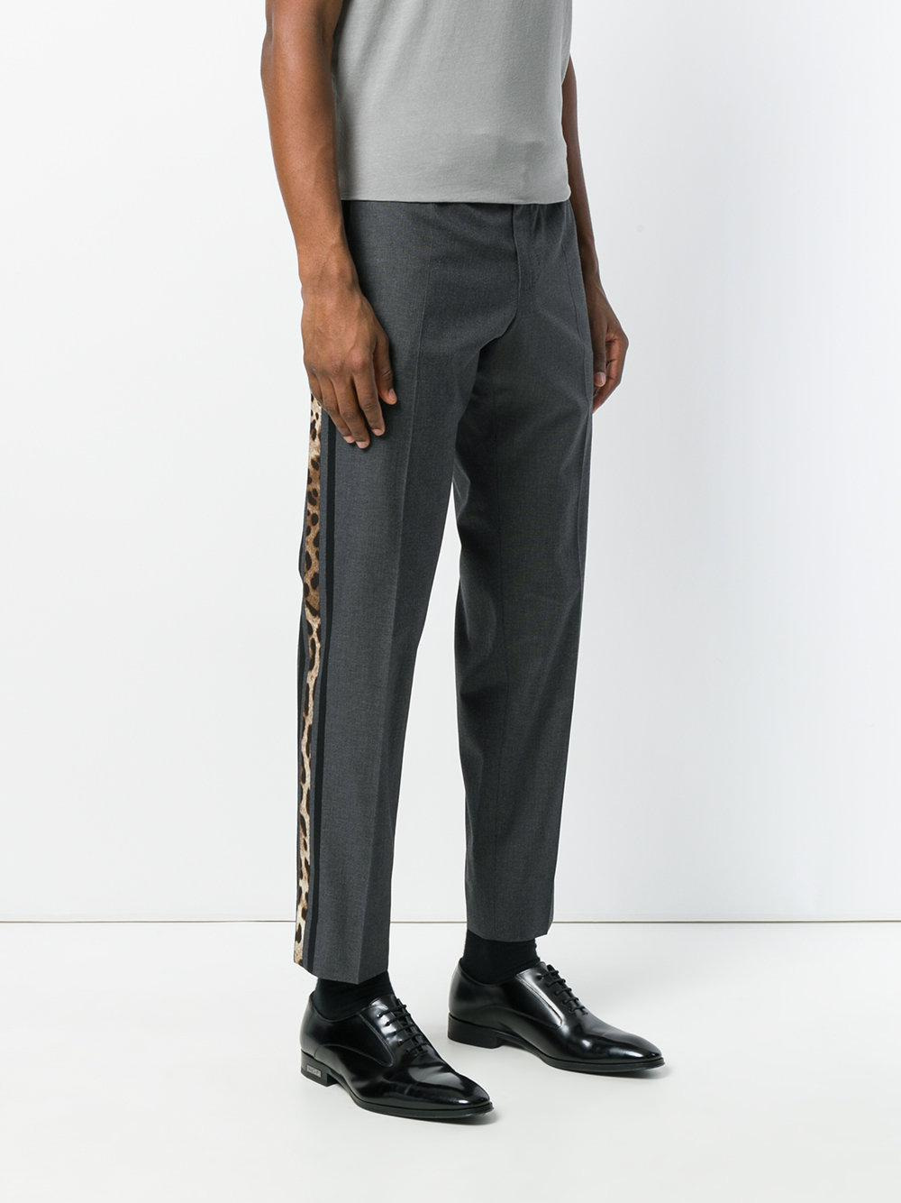 Clearance Low Price Fee Shipping Pre Order Online leopard print stripe tailored trousers - Grey Dolce & Gabbana sV0f5