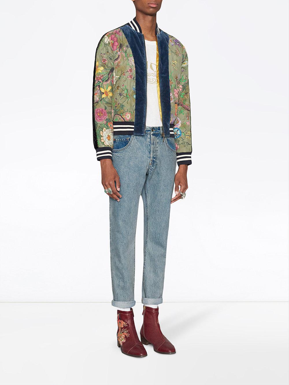 0a236ef2471 Gucci - Green Flora Snake Print Silk Bomber Jacket for Men - Lyst. View  fullscreen