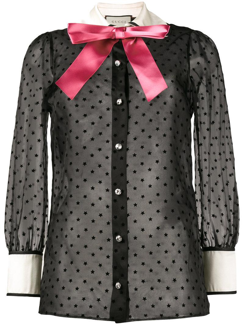 0e9c9db6576 Gucci - Black Sheer Star Pussy Bow Blouse - Lyst. View fullscreen