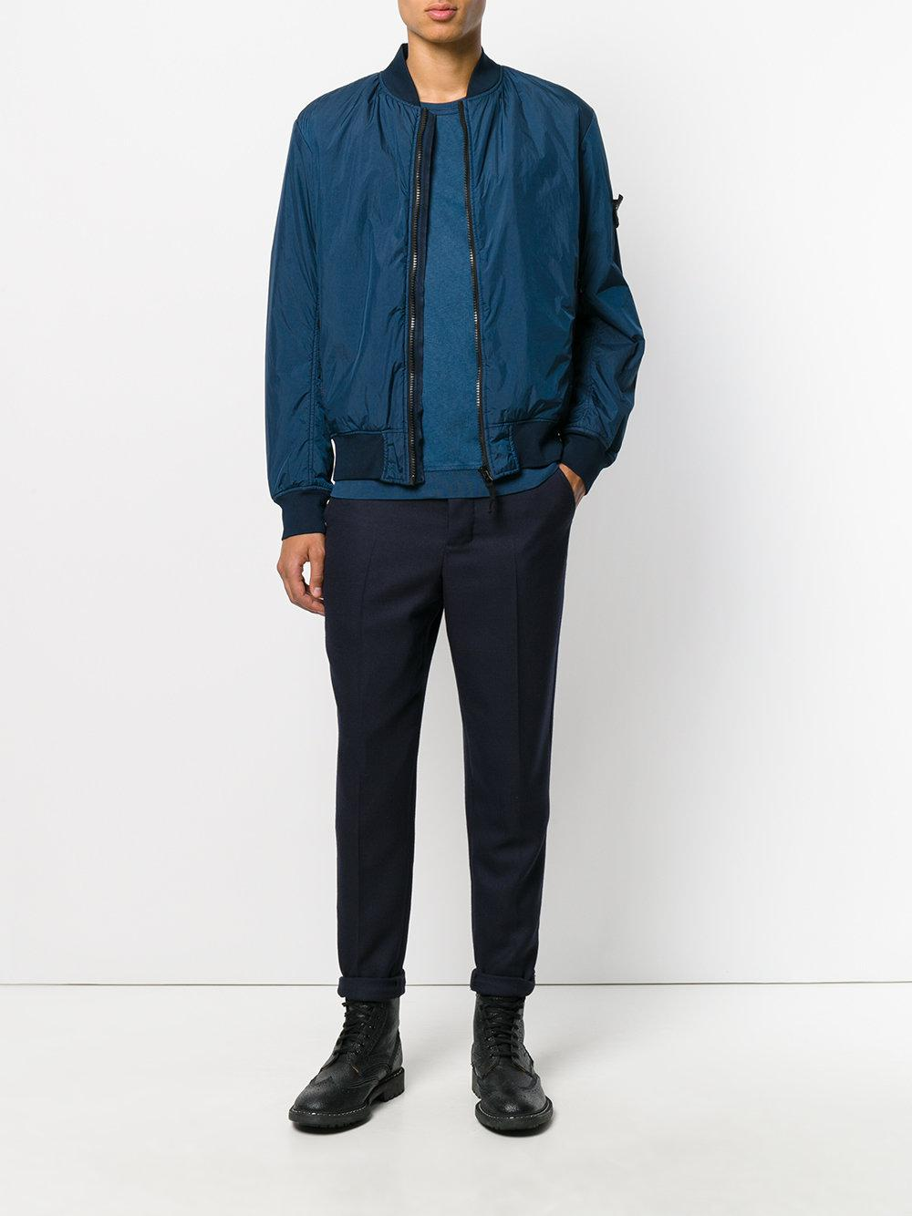 Stone Island Cotton Textured Bomber Jacket in Blue for Men