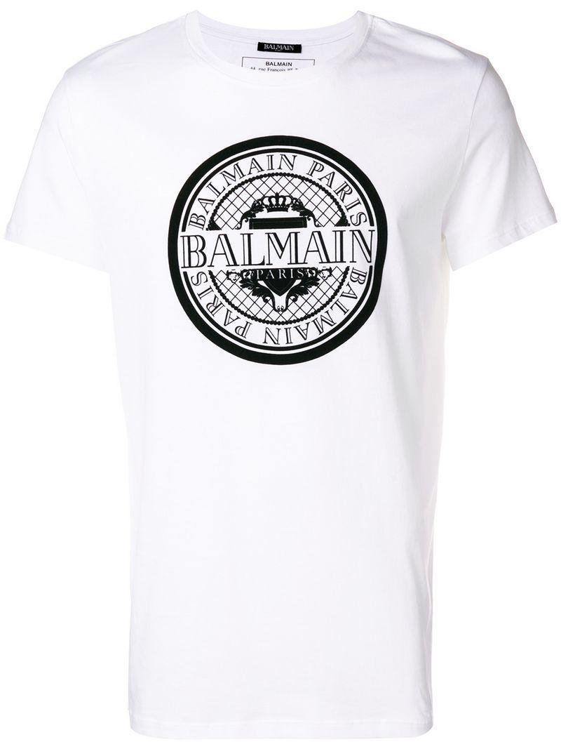 bee82a37 Balmain - White Monnaie Logo T-shirt for Men - Lyst. View fullscreen
