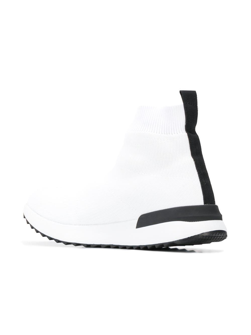 Versace Jeans Rubber Sock Sneakers in White - Lyst