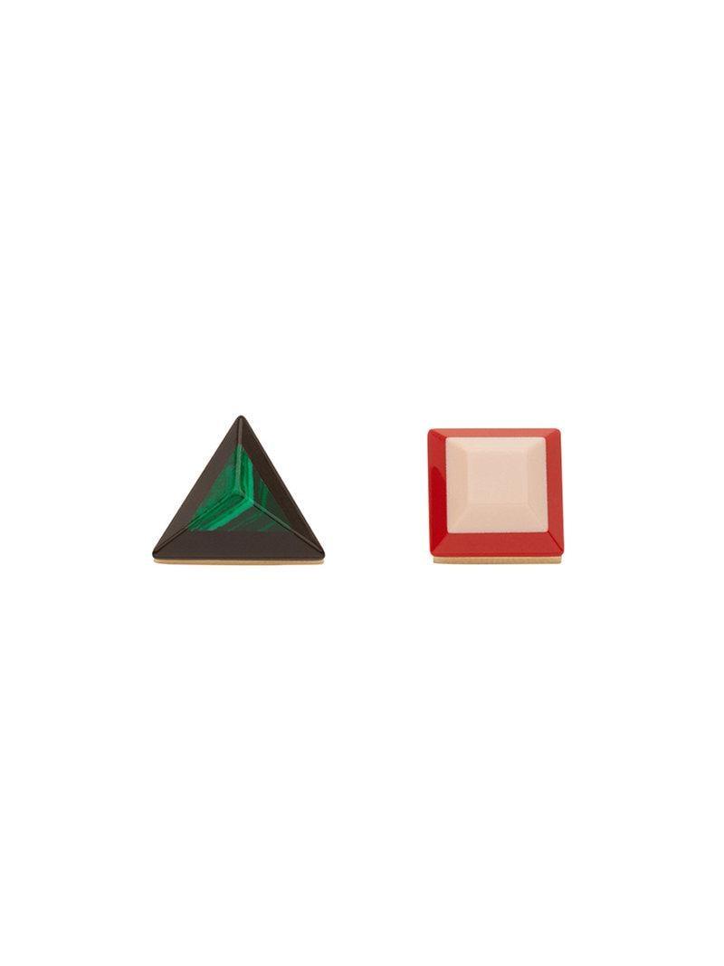 geometric asymmetric earrings - Green Fendi 1tdiDy