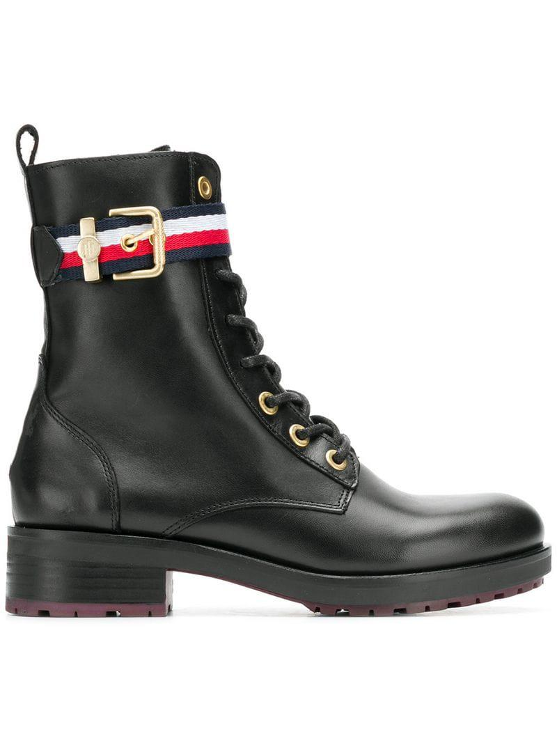 Tommy Hilfiger Corporate Belt Biker Boot Combat In Black