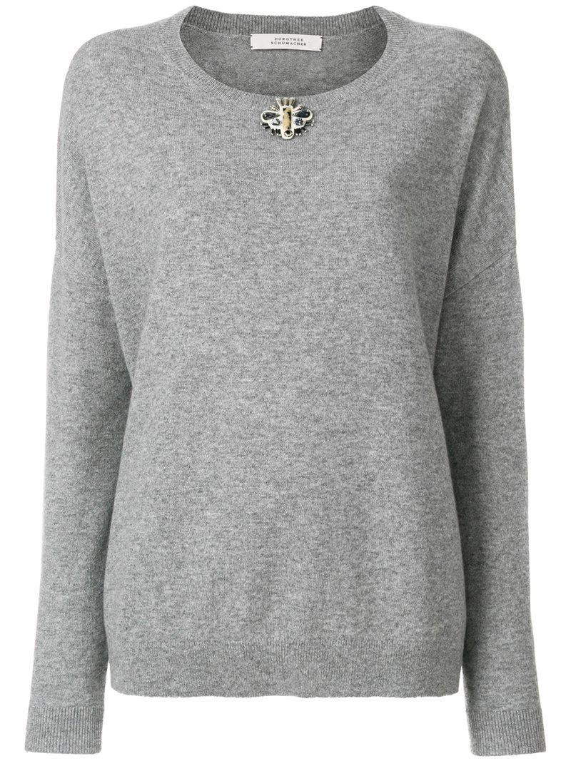 lyst dorothee schumacher embellished sweatshirt in grey. Black Bedroom Furniture Sets. Home Design Ideas
