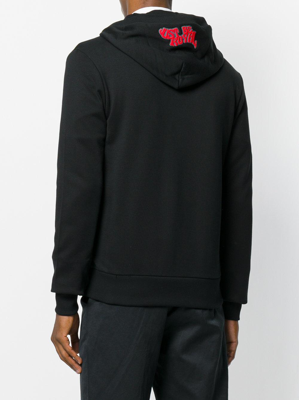 Dolce & Gabbana Cotton Royal Prince Patch Zip Hoodie in Black for Men