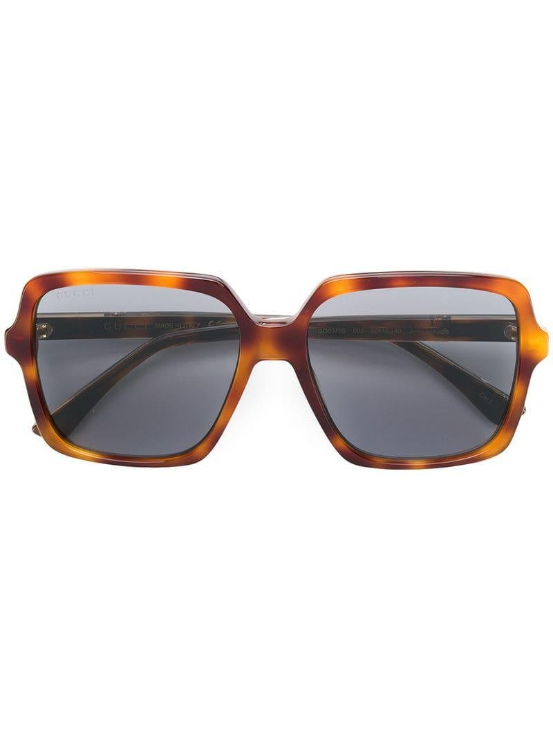c9d390109f9 Gucci Oversized Square Sunglasses in Brown - Lyst