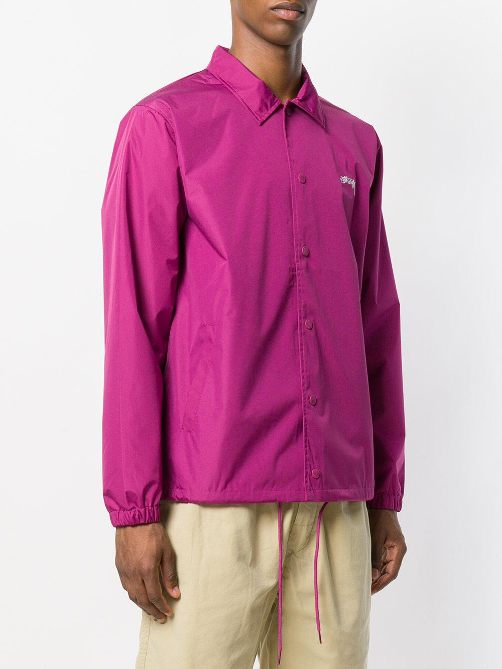 Stussy Cotton Button Shirt Jacket in Pink & Purple (Pink) for Men