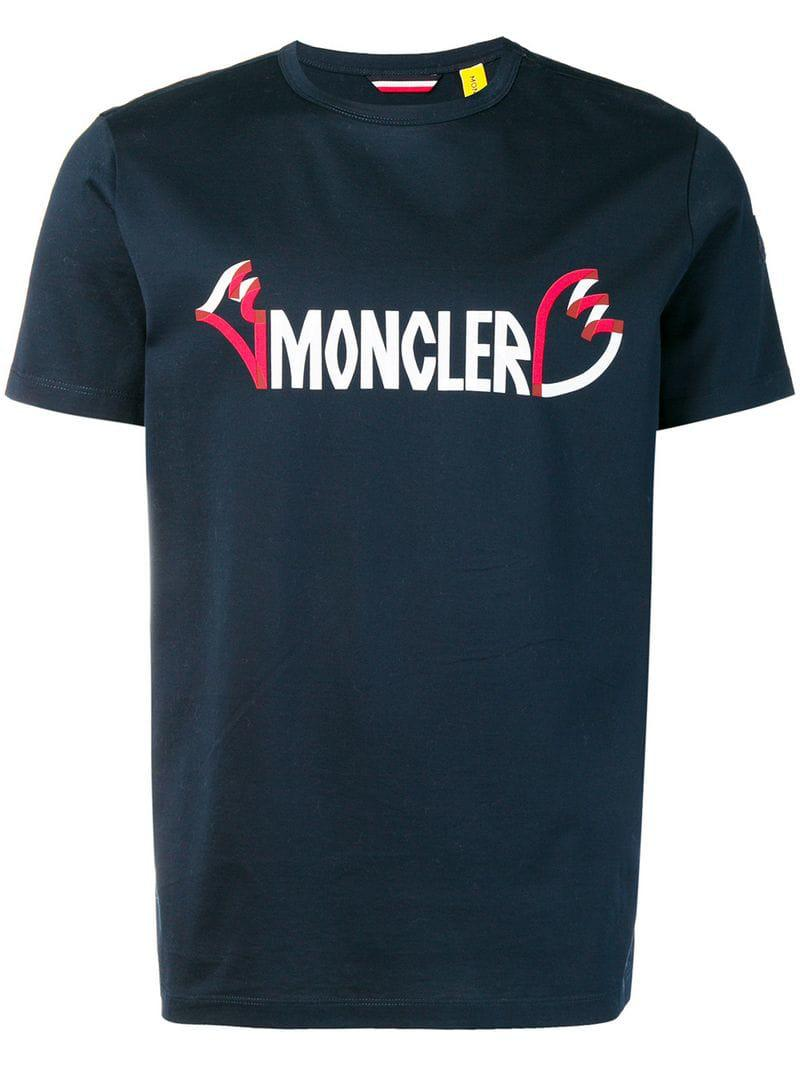 839a547aa Moncler Logo Print T-shirt in Blue for Men - Lyst