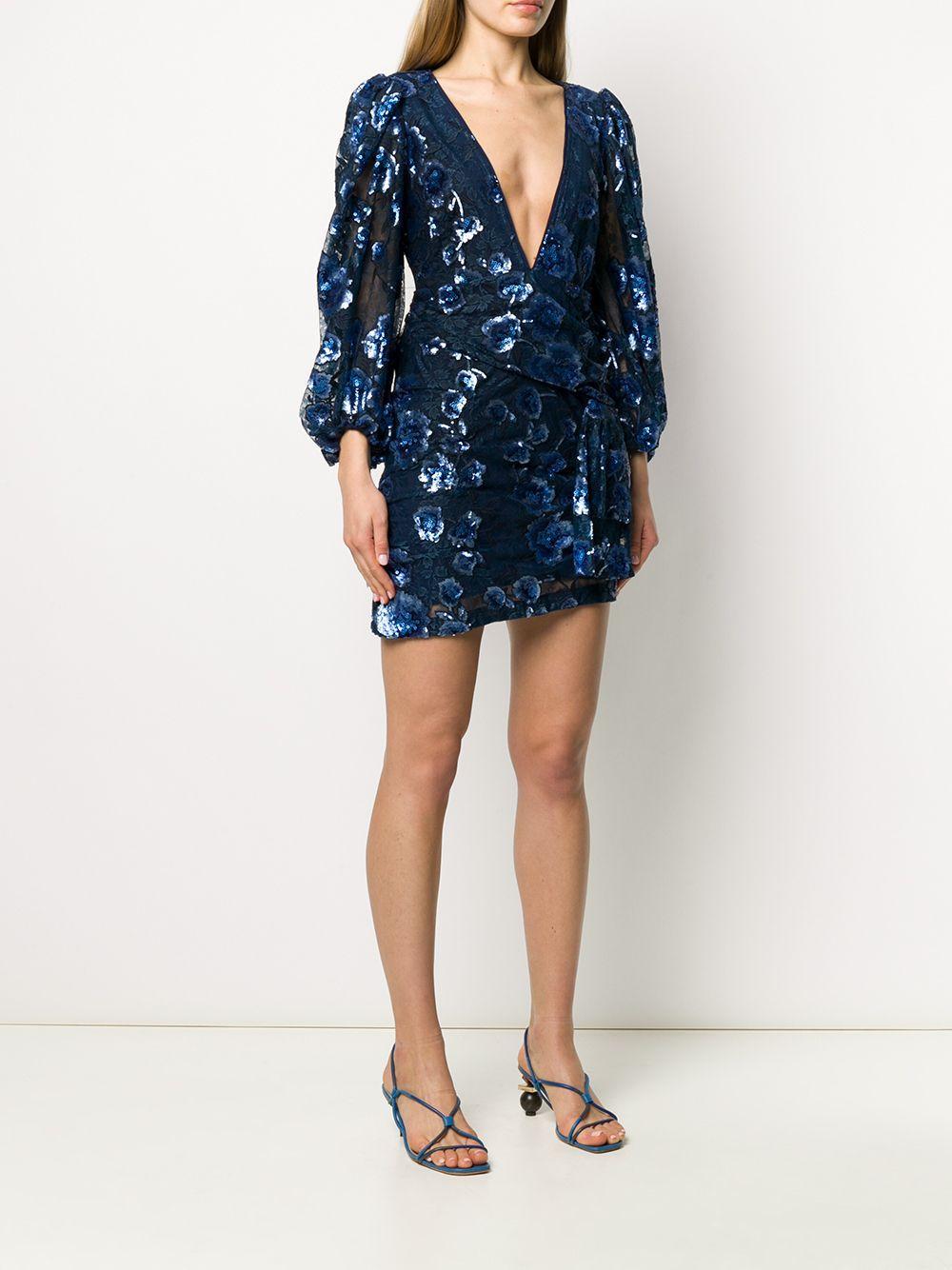 Vestido corto con bordado floral For Love & Lemons de Encaje de color Azul