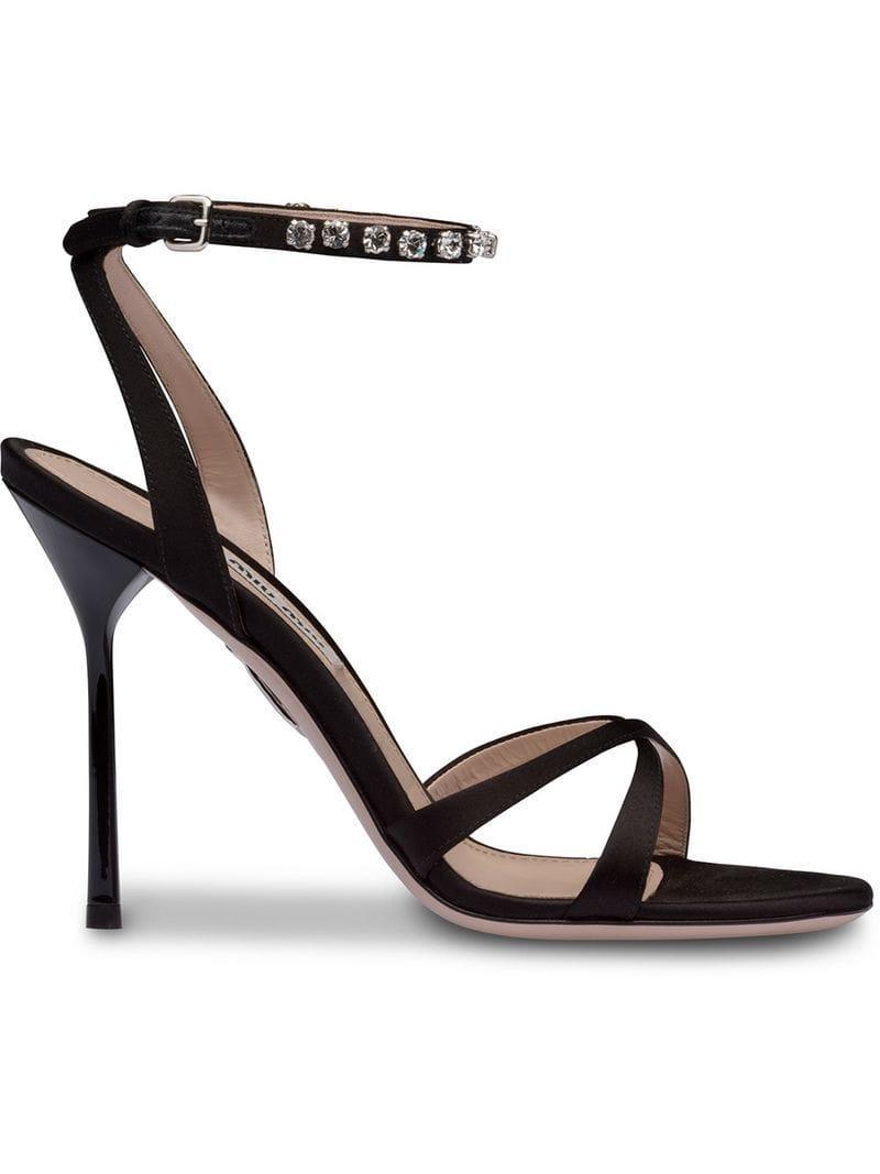 2b22885164c Lyst - Miu Miu Crystal Embellished Satin Sandals in Black