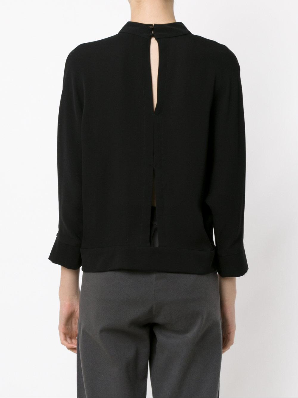 Egrey Cut Out Silk Blouse in Black