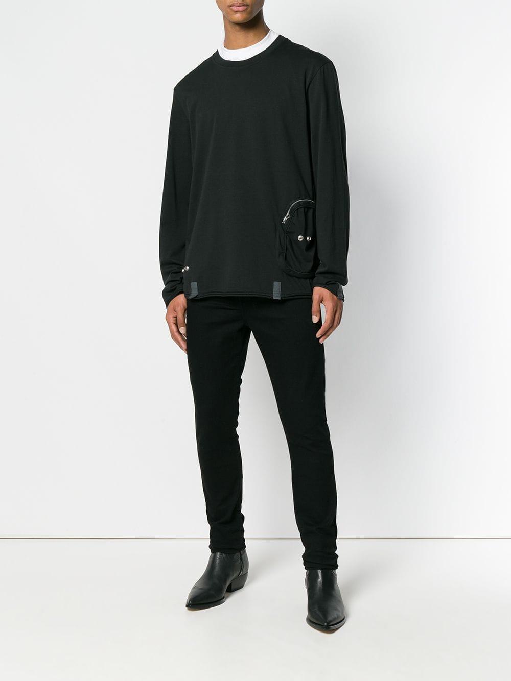Helmut Lang Katoen Sweater Met Zijzakken in het Zwart voor heren