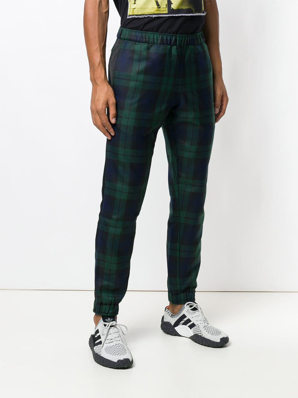 Astrid Andersen Wol Tartan Elasticated Trousers in het Groen voor heren