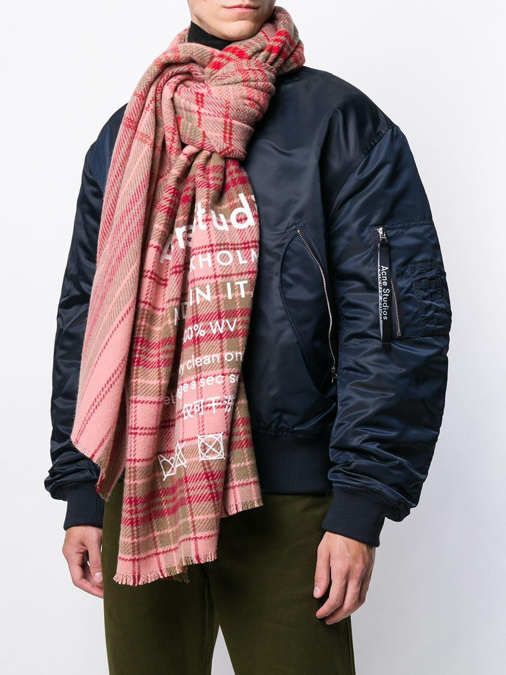 01a47b5cc03a5 Acne Studios Cassiar Check Oversized Scarf in Pink - Lyst
