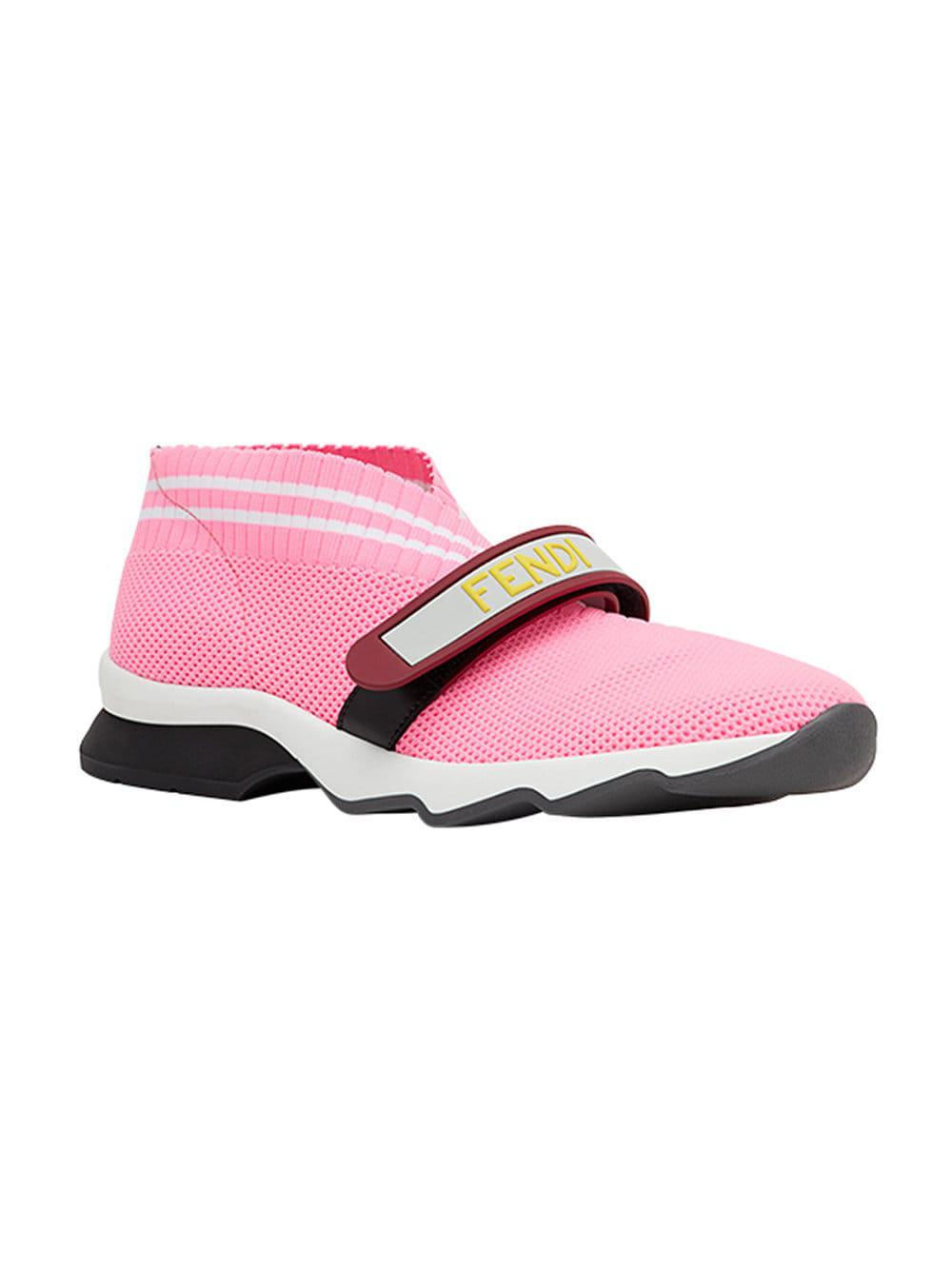 Fendi Leather Perforated Touch Strap Sneakers in Pink