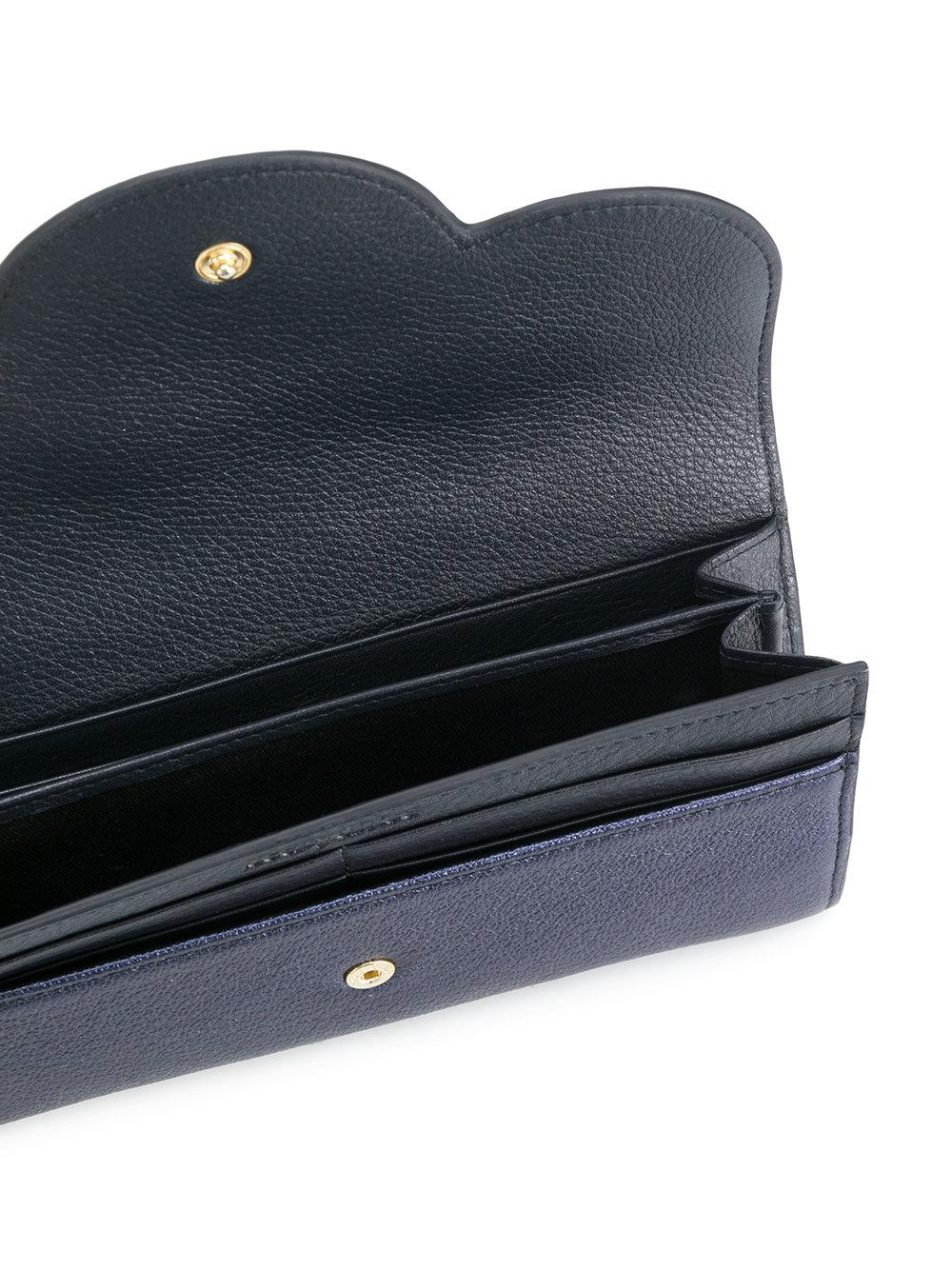 90ccf2f7c1 See By Chloé Blue Polina Long Flap Wallet