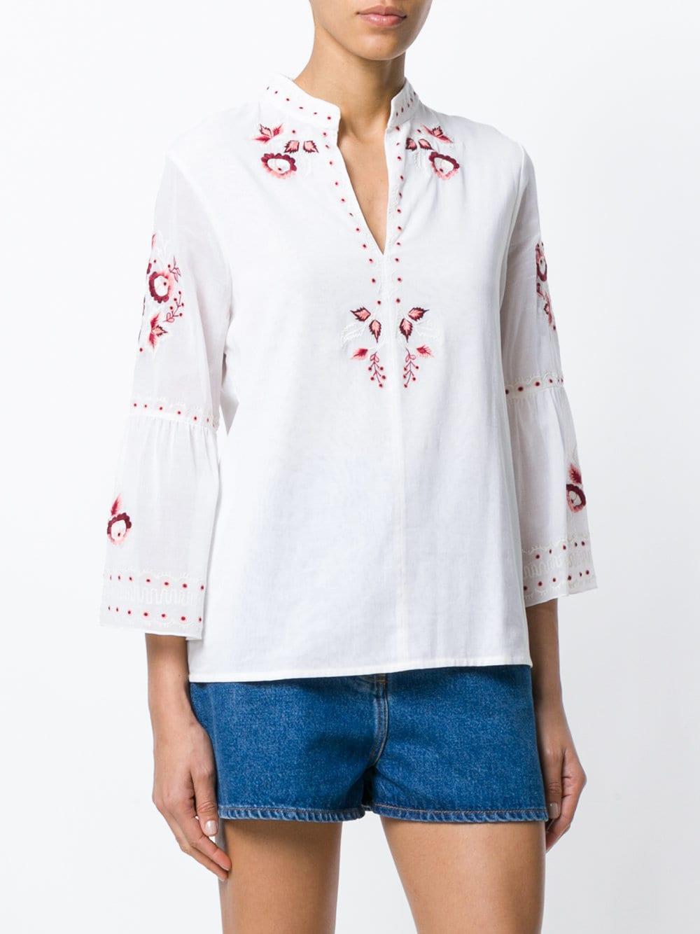 Blusa con bordado floral Vilshenko de Algodón de color Blanco