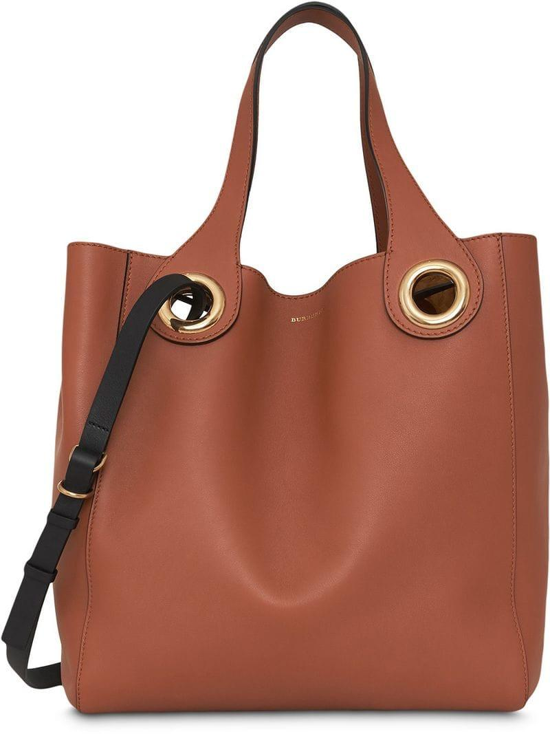 f2db255c5f0c Lyst - Burberry The Leather Grommet Detail Tote in Brown - Save 5%