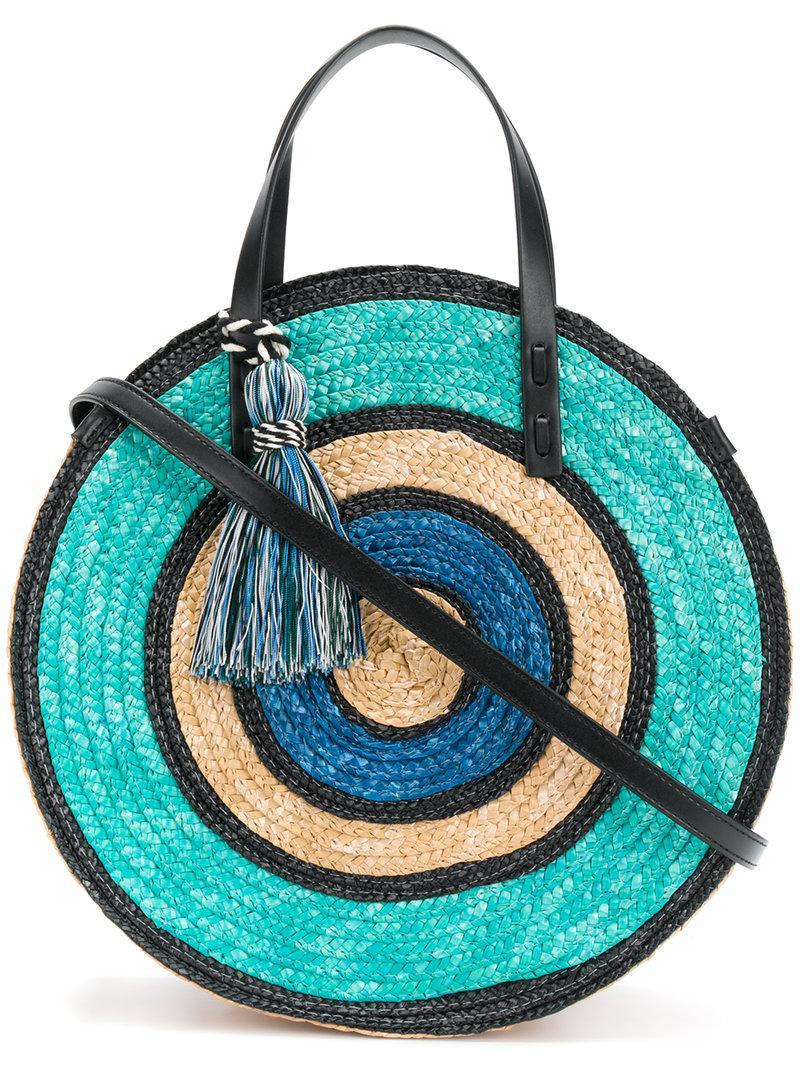 Rebecca Minkoff Woven Straw Circle Tote in Blue