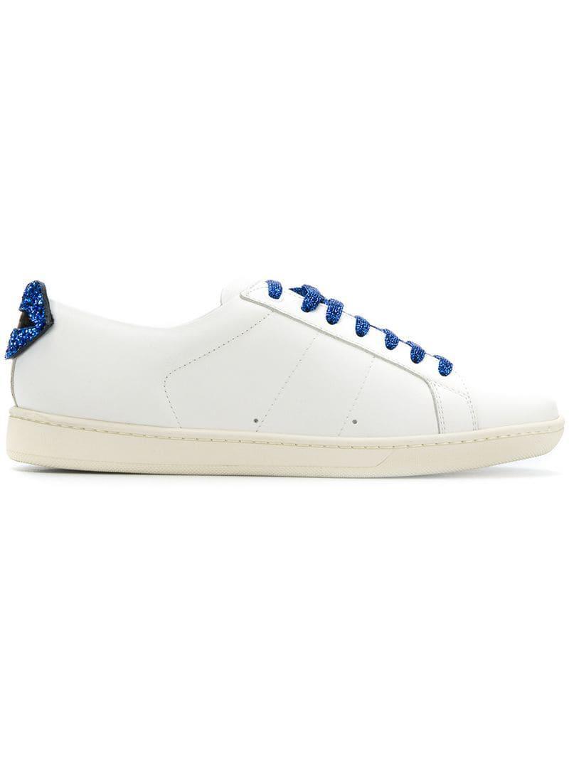 newest e72e8 e0124 Lyst - Saint Laurent Glitter Lips Sneakers in White