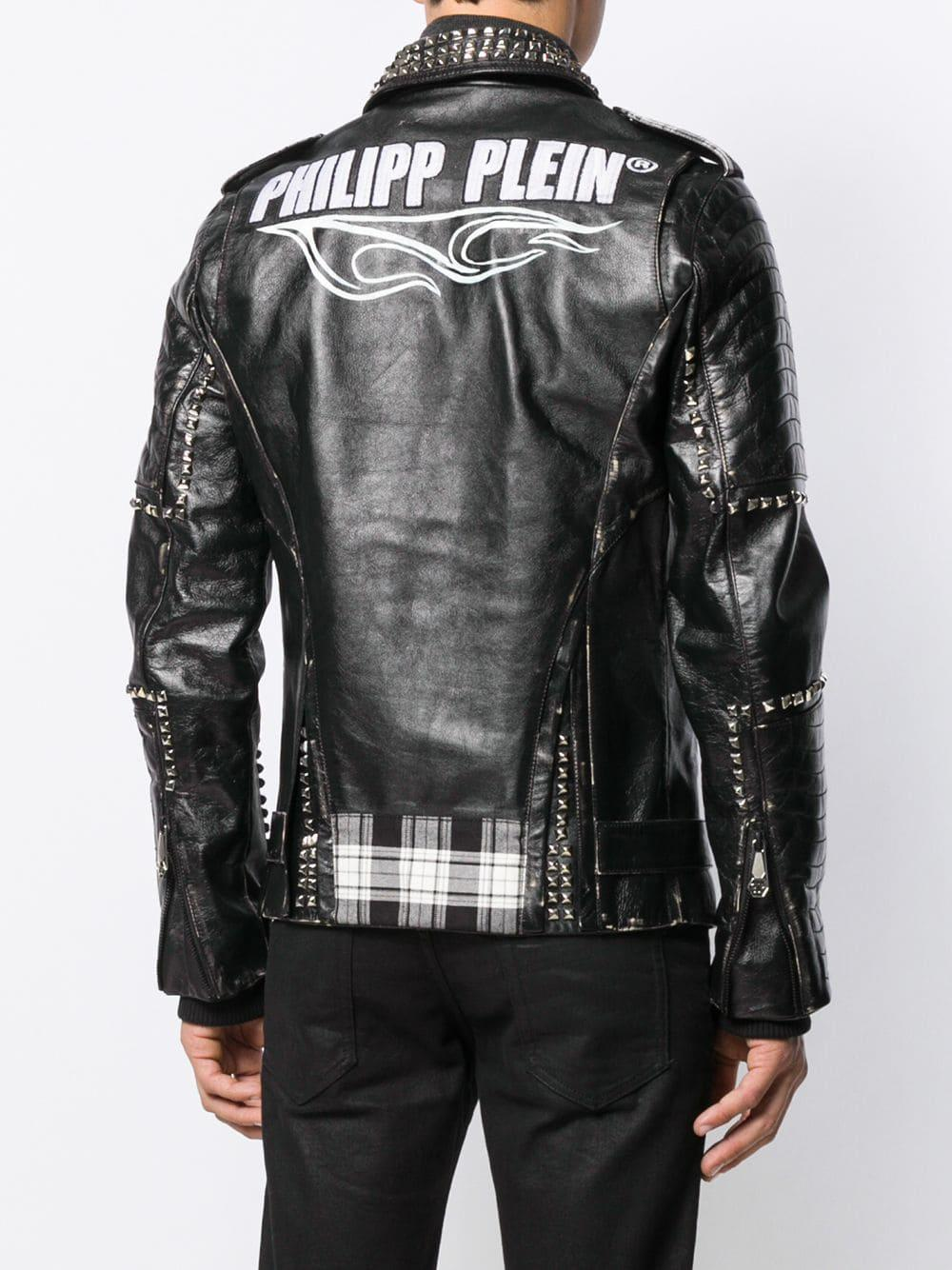 Philipp Plein Bikerjack Met Studs in het Zwart voor heren