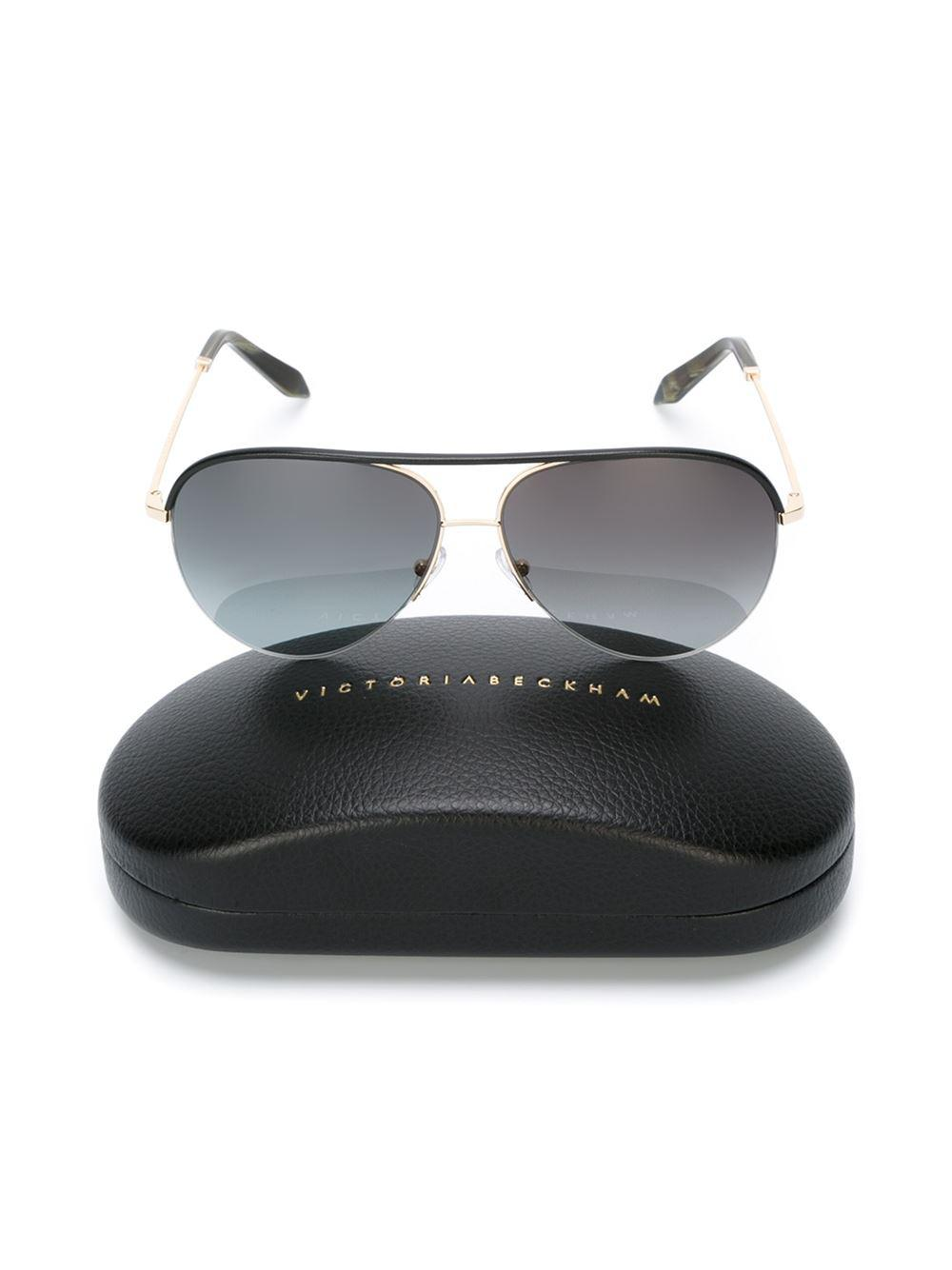 Victoria Beckham Leather Aviator Frame Sunglasses in Black