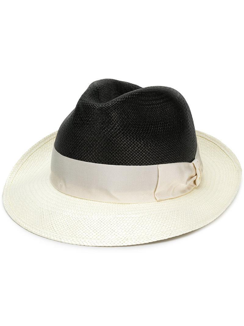 88d39889621 Borsalino Bi-colour Panama Hat in White for Men - Lyst