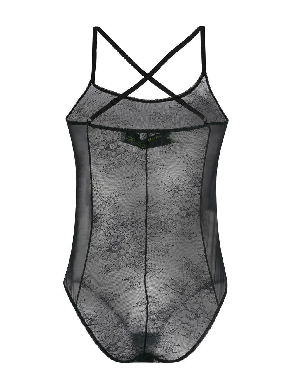 Body translúcido de encaje Off-White c/o Virgil Abloh de Encaje de color Negro