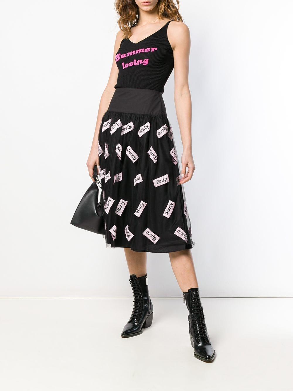 eaa80bafb01 Pinko Pleated Midi Skirt in Black - Lyst