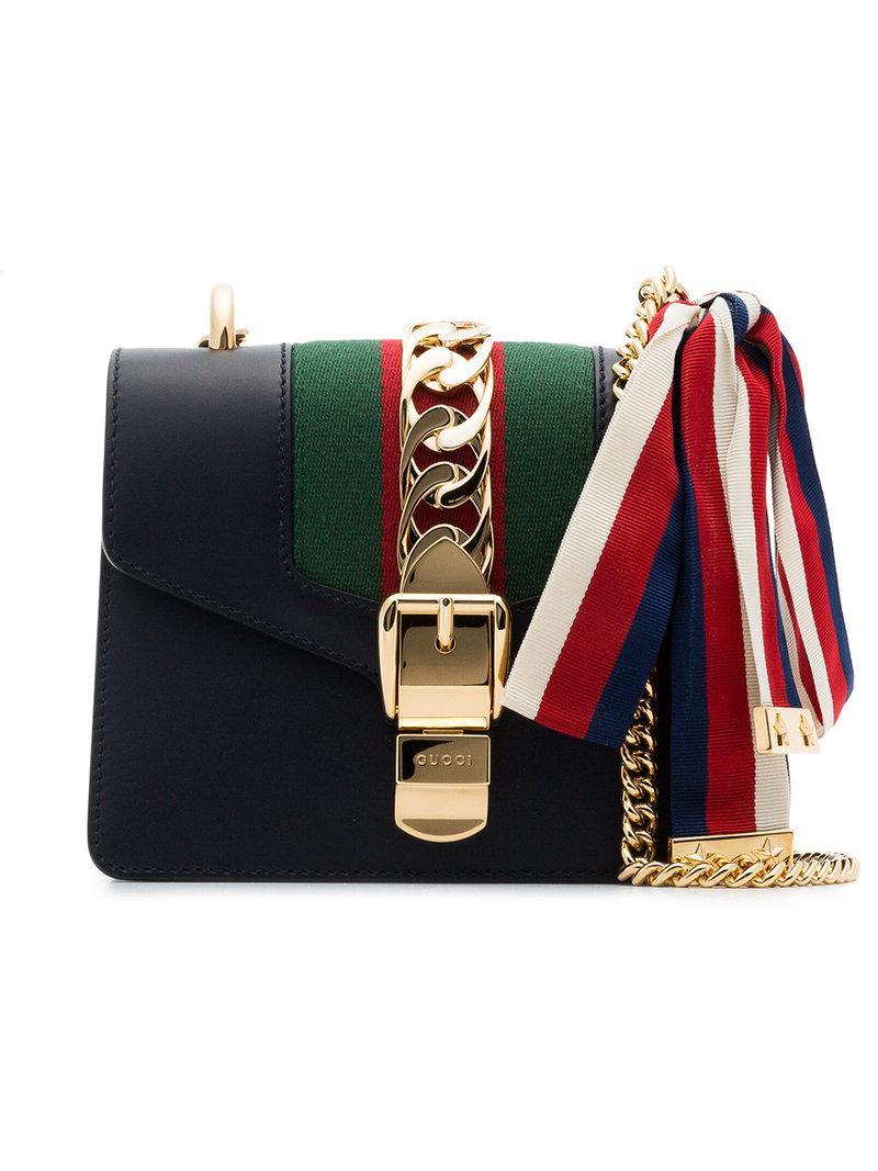 65c4dc63e9e0 Lyst - Gucci Navy Sylvie Mini Leather Bag in Blue