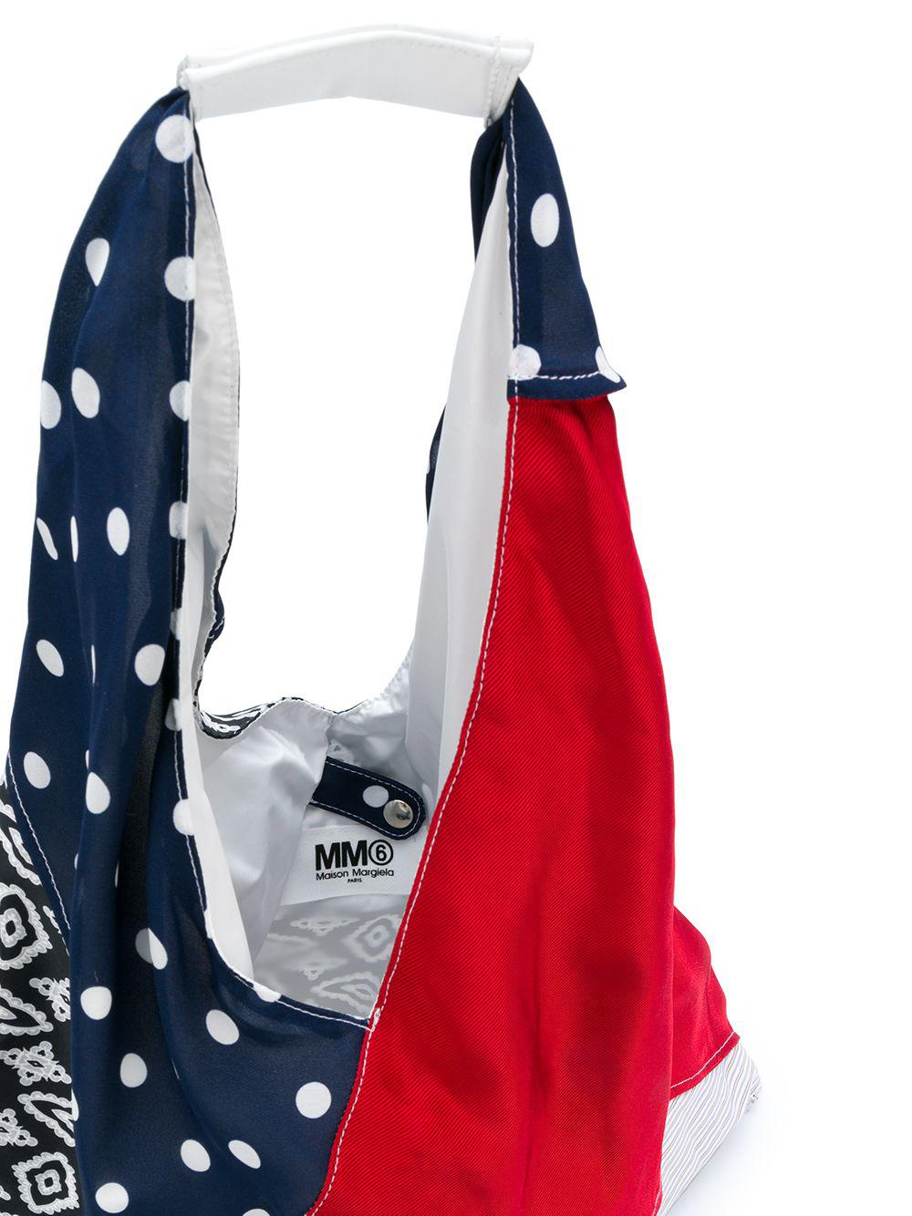 MM6 by Maison Martin Margiela Cotton Patchwork Triangular Tote Bag in Blue