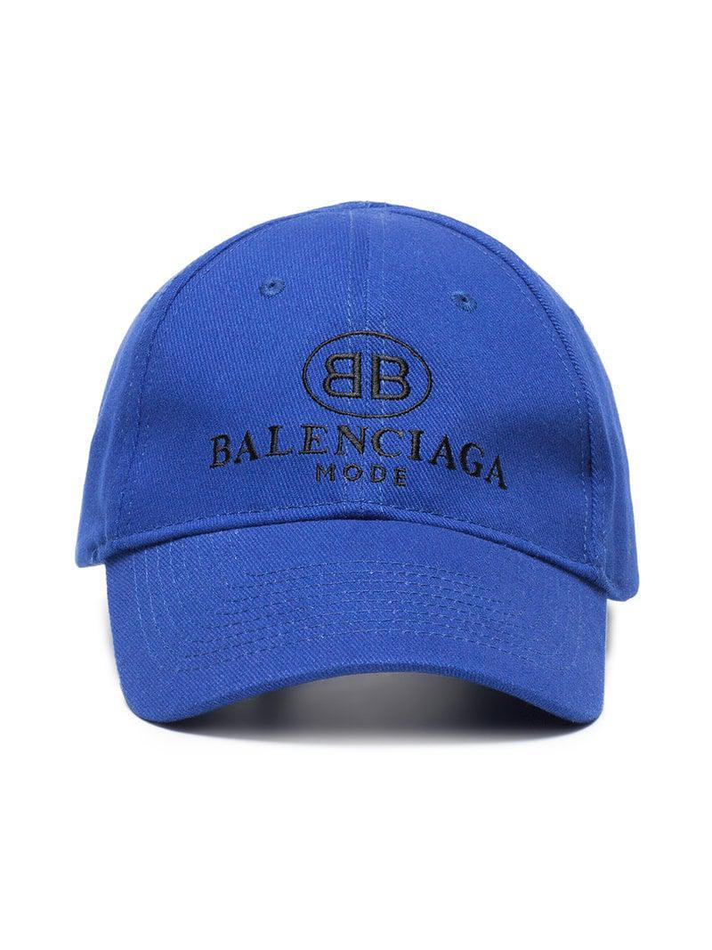 Lyst - Gorra con bordado del logo Balenciaga de hombre de color Azul 67feec460c0