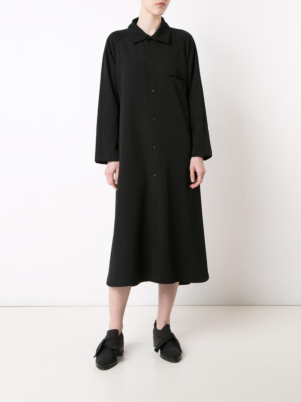 Lyst y 39 s yohji yamamoto midi shirt dress in black for Midi shirt dress black